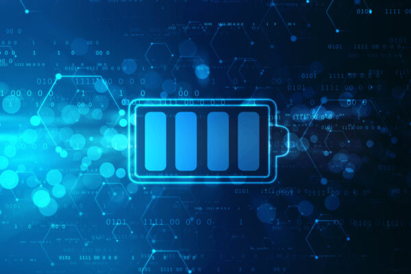 Battery Icon in digital background, battery Supply